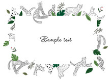 Frames For A Children's Photo Album, An Invitation, A Notebook Or A Postcard With Cute Cats And Tropical Leaves In A Doodle Style. Cat Lovers Need It. Cute Frame, Border, Vector Illustration.
