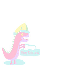 Cartoon Side View Of Pink Dinosaur Wearing A Yellow Christmas Hat, Standing Holding A Sign Has Text Merry Christmas On White Background.Vector Isolate Flat Design For T-Shirt Kids Or Children's Card.