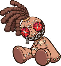 Voodoo Doll With Dreadlocks Sitting Down. Vector Clip Art Illustration With Simple Gradients. All On A Single Layer.