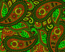 Illustration, Background Texture Of Multicolored Ornament Elements, For Paper And Textiles