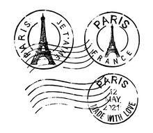 Postal Vintage Stamps Paris - France. Vector Grunge Rubber With Eiffel Tower