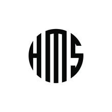 HMS Letter Logo Design. HMS Modern Letter Logo With Black Background. HMS Creative  Letter Logo. Simple And Modern Letter HMS Logo Template, HMS Circle Letter Logo Design With Circle Shape. HMS
