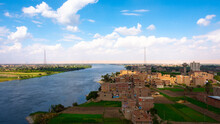 Sohag City In South Egypt Showing Naidah Village Which Overlooks The Nile River At The Daytime