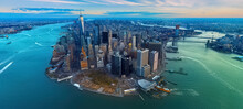 High Angle View Of Buildings By Sea Against Sky,new York City