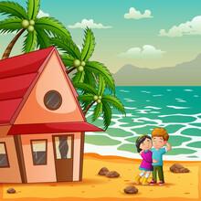 A Teen Couple On The On The Beachside Illustration