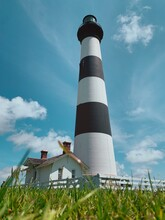 Low Angle View Of Bodie Island  Lighthouse Against Sky