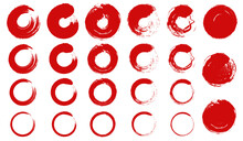 墨で書いた赤い円のベクターイラスト素材(丸,年賀状,暑中見舞い)