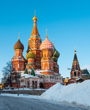 Famous Nine Domed Saint Basils Cathedral Or Pokrovsky Cathedral On Red Square In Moscow On Sunny Winter Day. Popular Cultural Symbols Of Russia