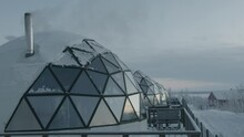 Original Glamping From An Igloo With Glass Panoramic Windows On A Winter Day