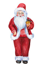 Santa Claus With Gift, Christmas Watercolor Illustration