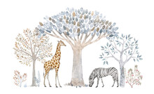 Beautiful Composition With Hand Drawn Watercolor Cute Trees And Safari Animals. Stock Illustration.