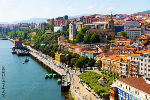View of Portugalete from Vizcaya Bridge bridge in Spain, crossing the River