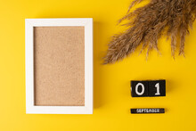 Calendar With 1st September And Pampas Dry Grass On Yellow Background With Empty Frame