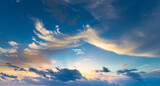 Fototapeta Kawa jest smaczna - Sunset with sun rays, sky with clouds and sun.