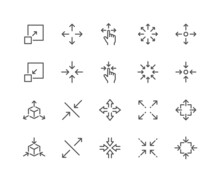 Simple Set Of Scaling Related Vector Line Icons. Contains Such Icons As Increase, Decrease, Resize And More. Editable Stroke. 48x48 Pixel Perfect.