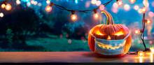Pumpkin With Protective Mask - Halloween In Outdoor