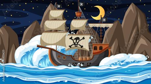 Fotografia Ocean with Pirate ship at night scene in cartoon style