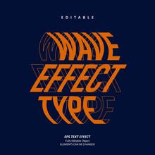 Wave Text Effect Editable Premium Vector