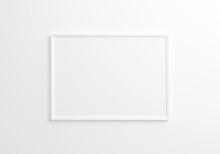 White Horizontal Frame Mockup On White Wall. 3d Rendering.