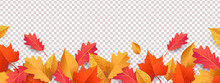Autumn Seasonal Background With Long Horizontal Border Made Of Falling Autumn Golden, Red And Orange Colored Leaves Isolated On Background. Hello Autumn Vector Illustration