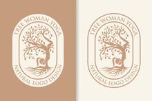 Tree Woman Yoga Natural Logo Design