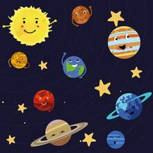 The Planets Of The Solar System Gracefully Revolve Around The Sun In Their Orbits.  Space Galaxy And Stars.  Sun, Mercury, Mars, Venus, Earth, Jupiter, Saturn, Uranus, Neptune