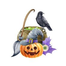 Witchcraft Halloween Illustration. Black Raven Bird, Kettle, Pumpkin, Broom. Wizard Magic Objects Decoration. Halloween Decor Element. Spooky Funny Autumn Decor. White Background
