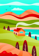 Vector Illustration Of Beautiful Landscape. Cosy House On Hill Near Lake, Mountains Behind, Blue Sky And Birds. Background For Wallpaper, Bookcover
