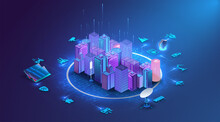 Isometric Innovation  Smart City And Connected To The Light Of The High-speed Line, The Concept Of Big Data Connection Technology And A Secure Wireless Connection. The Concept Of The Future. Vector