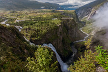 The Voringfossen Waterfall - The Fourth Highest Peak In Norway-forms The Bureya River, Falling From A Height Of 183 Meters (including 145 Meters Of Free Fall). Norway.