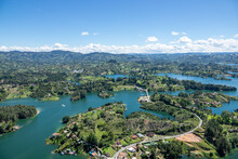 Amazing Panoramic View Of The Hydroelectric Reservoir And Lakes Of El Peñol De Guatape, In Medellin, Colombia.