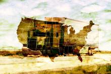 Ein Truck Und Landkarte Von Amerika