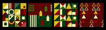 Set Of Christmas Seamless Pattern Decorated With Geometric Shapes, Trees. Colorful Pattern Stylish Concept For Wrapping, Fabric, Wallpaper, Print, Textile.  Retro Style. Vector Illustration.