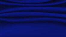 Abstract Silk Vector Background.Luxury Cloth Or Liquid Soft Wave.Dark Blue Fabric Texture.Creases Of Satin, Ripple And Smooth Elegant Cotton.Silky Surface 3d Material For Product Advertising Design