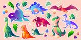Fototapeta Dinusie - Dinosaurs stickerpack, dino cartoon characters set