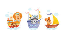 Cute Baby Animals Captains Set. Funny Lion, Raccoon, Dog Sailors Characters Floating On Ships Cartoon Vector Illustration