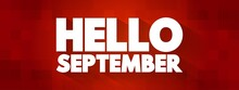 Hello September Text Quote, Concept Background