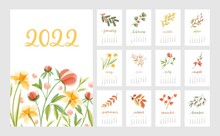 Floral Calendar For Year 2022 With Month Pages Set And Flowers. Botanical Romantic Design For Planner. Modern Flora Decoration For Monthly Organizer. Colored Flat Vector Illustration For Printing