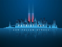 New York Skyline Silhouette With Glowing Twin Towers Behind. American Patriot Day Banner. World Trade Center. Vector Illustration.