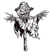 Vintage Concept Of Halloween Scarecrow