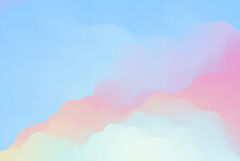 Vector Illustration Of Iridescent Cloudscape. Soft Shapes Of Colorful Clouds In Bright Blue Sky. Gradation Of Gentle Yellow, Orange, Pink Sunset Colors. Multicolored Abstract Background.