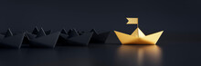 Group Of Black Paper Boats With Golden Leader On Dark Background