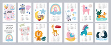 2022 Calendar Or Planner For Kids. Cute Stylized Animals. Editable Vector Illustration, Set Of 12 Monthly Cover Pages. Week Starts On Monday.
