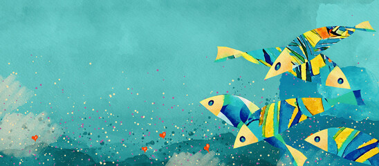 Abstract fish. Watercolor decorative background. Design element