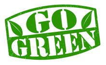 Go Green Grunge Rubber Stamp On White Background, Vector Illustration