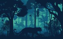 Vector Evening Tropical Rainforest Jungle Background With Jaguar, Harpy Eagle, Toucan, Deer And Hog