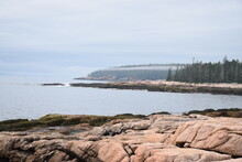 Ship Harbor Trail - Acadia National Park Maine. A Thin Mist Passes Along The Coastline Between Rain Showers During Summer