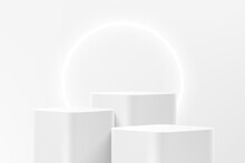 Abstract 3D White Steps Round Corner Cube Pedestal Or Stand Podium With Glowing Neon Ring Backdrop. White Minimal Wall Scene For Product Display Presentation. Vector Geometric Rendering Platform.