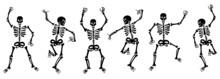 Set Of Dancing Black Skeletons. Vector Illustration