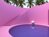 Fototapeta Perspektywa 3d - Surreal art design with stairs and pool